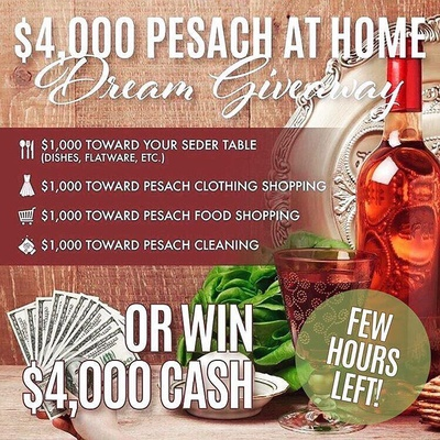 ENDS TONIGHT! FEW HOURS LEFT.  Win a 🍷$4,000 Pesach at Home Dream Giveaway 🍽 or a $4,000 CASH Giveaway!  Head on over to ➡ @KosherLoops and follow the instructions in the giveaway post!  We teamed up @kosherloops and amazing shops to give one lucky follower a chance to win $4,000 CASH or everything below.  1.	🍷 $1,000 toward your Seder Table (Dishes, etc) 2.	🧥 $1,000 toward Pesach Clothing Shopping 3.	🥬 $1,000 toward Pesach Food Shopping 4.	🧹 $1,000 toward Pesach Cleaning  or  Take the Cash Option of $4,000.00 CASH!  To enter: (takes 30 seconds)  Head on over to @kosherloops and follow the instructions in the giveaway post!  Valid at any store, max prize value $4000. Disclaimer, this giveaway is not sponsored, administered, or associated with instagram. See @KosherLoops for full details Organized by @KosherLoops Good luck!! 🍷🍷🍷🍷