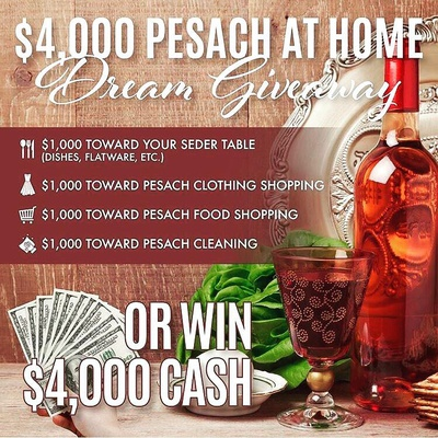 Win a 🍷$4,000 Pesach at Home Dream Giveaway 🍽 or a $4,000 CASH Giveaway!  Head on over to ➡ @KosherLoops and follow the instructions in the giveaway post!  We teamed up @kosherloops and amazing shops to give one lucky follower a chance to win $4,000 CASH or everything below.  1.	🍷 $1,000 toward your Seder Table (Dishes, etc) 2.	🧥 $1,000 toward Pesach Clothing Shopping 3.	🥬 $1,000 toward Pesach Food Shopping 4.	🧹 $1,000 toward Pesach Cleaning  or  Take the Cash Option of $4,000.00 CASH!  To enter: (takes 30 seconds)  Head on over to @kosherloops and follow the instructions in the giveaway post!  Valid at any store, max prize value $4000. Disclaimer, this giveaway is not sponsored, administered, or associated with instagram. See @KosherLoops for full details Organized by @KosherLoops Good luck!! 🍷🍷🍷🍷
